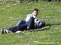 Horny guy getting a handjob in the park